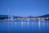 Jet D'Eau on Lake Geneva, Mont Blanc in the Distance, Geneva, Switzerland Photographic Print by Jon Arnold