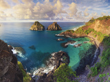 Brazil, Fernando De Noronha Marine National Park, Porco's Bay and Dos Irmaos Peaks Photographic Print by Michele Falzone