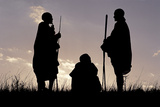 Silhouette of Maasai Warriors, Ngorongoro Crater, Tanzania Photographic Print by Paul Joynson Hicks