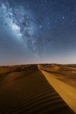 Oman, Wahiba Sands. the Sand Dunes at Night Lit by the Moon with the Milky Way Photographic Print by Matteo Colombo