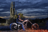 Dan Stewart on Chopper Bike, Scottsdale, Arizona, Usa Mr Photographic Print by Christian Heeb