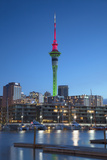Viaduct Harbour and Sky Tower at Dusk, Auckland, North Island, New Zealand Photographic Print by Ian Trower