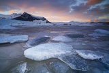 Iceland, Austurland , Sunset at Jokulsarlon Glacier Lagoon Photographic Print by Salvo Orlando