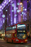 England, London, Soho, Oxford Street, Chirstmas Decorations and London Bus Photographic Print by Walter Bibikow