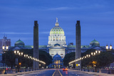 USA, Pennsylvania, Harrisburg, Pennsylvania State Capitol, Exterior, Dawn Photographic Print by Walter Bibikow