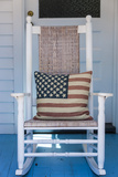 USA, Massachusetts, Cape Cod, Provincetown, the West End, Rocking Chair with Us Flag Photographic Print by Walter Bibikow