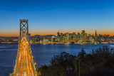 Dusk View over Bay Bridge and Downtown Skyline from Yerba Buena Island, San Francisco, California Photographic Print by Stefano Politi Markovina