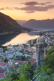 Elevated View over Kotor's Stari Grad (Old Town) and the Bay of Kotor Illuminated Photographic Print by Doug Pearson