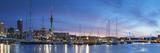 Viaduct Harbour and Sky Tower at Sunset, Auckland, North Island, New Zealand Lámina fotográfica por Ian Trower