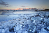 Iceland, South Iceland, Jokulsarlon Lagoon During the First Light of Sunrise Photographic Print by Fortunato Gatto