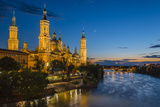 Basilica De Nuestra Senora Del Pilar Church and Ebro River at Dusk, Zaragoza, Aragon, Spain Photographic Print by Stefano Politi Markovina