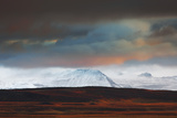 Iceland , West Iceland, Vesturland , Lava Fields and Snow Covered Mountains in the Last Light Photographic Print by Vincenzo Mazza