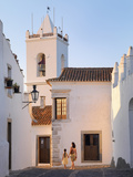Portugal, Alentejo, Monsaraz, Woman and Girl Walking Down Cobbled Street (Mr) Photographic Print by Shaun Egan