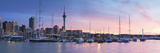 Viaduct Harbour and Sky Tower at Sunset, Auckland, North Island, New Zealand Fotografisk tryk af Ian Trower