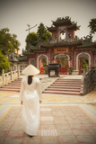 Woman Wearing Ao Dai Dress Photographic Print by Ian Trower