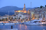 Menton at Dusk, Cote D'Azur, France, Europe Photographic Print by Christian Heeb