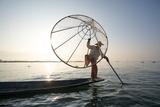 Myanmar, Shan State, Nyaungshwe Township. Local Intha Fishermen Fishing (Mr) Photographic Print by Matteo Colombo