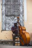 Santiago De Cuba Province, Historical Center, Street Musician Playing Double Bass Fotografie-Druck von Jane Sweeney