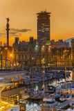 Port Vell at Sunset, Barcelona, Catalonia, Spain Photographic Print by Stefano Politi Markovina