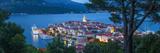 Elevated View over Korcula's Picturesque Stari Grad Illuminated at Dusk, Korcula, Dalmatia, Croatia Photographic Print by Doug Pearson