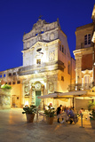 Restaurant and the Abbey Church of Saint Lucia, Ortygia, Syracuse, Sicily, Italy Photographic Print by Neil Farrin