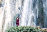 Myanmar, Mandalay Division, Pyin Oo Lwin. Burmese Monk Praying under Dattawgyaik Waterfall (Mr) Photographic Print by Matteo Colombo