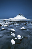 Iceland , West Iceland, Vesturland , Mount Kirkjufell from the Grundarfjordur Bay in the Blue Hour Photographic Print by Vincenzo Mazza