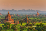Panoramic View at Sunset over the Ancient Temples and Pagodas, Bagan, Myanmar or Burma Photographic Print by Stefano Politi Markovina
