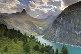 Switzerland, Graubunden, Vals, Zervreilasee Reservoir and Zervreilahorn Peak Photographic Print by Michele Falzone