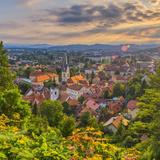 Slovenia, Ljubljana, Sveti Florijana (Or Sentflorjanska) Cerkev and Sveti Jakoba Cerkev Beyond Photographic Print by Alan Copson