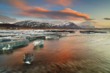 Iceland, South Iceland, Jokulsarlon, Ice on the Lagoon Reflecting the Colours of Dawn Photographic Print by Fortunato Gatto
