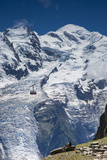 Cable Car in Front of Mt. Blanc from Mt. Brevent, Chamonix, Haute Savoie, Rhone Alpes, France Photographic Print by Jon Arnold