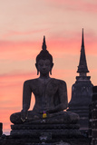 Thailand, Sukhothai Historical Park. Wat Mahathat Temple at Sunset Photographic Print by Matteo Colombo