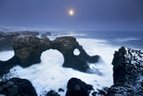 Iceland, Characteristic Cliff Overlooking the Sea, Illuminated by the Moonlight Photographic Print by Alessandro Carboni