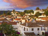 Portugal, Estramadura,Obidos, Overview of 12th Century Town at Dusk Photographic Print by Shaun Egan