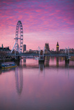 England, London, Southbank, the London Eye, Sunrise Photographic Print by Walter Bibikow