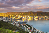 Elevated View over Central Wellington Illuminated at Sunrise, Wellington, North Island, New Zealand Photographic Print by Doug Pearson
