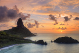 Brazil, Fernando De Noronha, Conceicao, Meio and Cachorro Beach with Morro De Pico Mountain Photographic Print by Michele Falzone