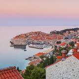 Elevated View over Stari Grad (Old Town) Illuminated at Sunrise, Dubrovnik, Dalmatia, Croatia Photographic Print by Doug Pearson