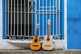 Santiago De Cuba Province, Historical Center, Calle Heredia, Guitars by Balcony Photographic Print by Jane Sweeney