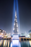 United Arab Emirates, Dubai. Burj Khalifa at Dusk, with Light Show Fotografisk tryk af Matteo Colombo