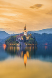Slovenia, Julian Alps, Upper Carniola, Bled, Lake Bled, Bled Island (Blejski Otok) with Church Photographic Print by Alan Copson