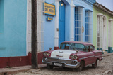 Cuba, Trinidad, Classic American Car in Historical Center Photographic Print by Jane Sweeney