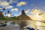 Brazil, Fernando De Noronha, Conceicao Beach with Morro Pico Mountain in the Background Fotografiskt tryck av Michele Falzone