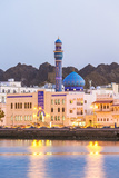 Oman, Muscat. Mutrah Harbour and Old Town at Dusk Photographic Print by Matteo Colombo