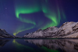 The Aurora Borealis over Water and Mountains. Jupiter in the Constellation Taurus, on Upper Left Fotografisk tryk af Babak Tafreshi