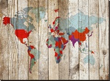 World Map VII Stretched Canvas Print
