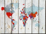 World Map Ix Stretched Canvas Print