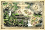 Patrick McFeeley - A 1876 Centennial Map of the Hawaiian Islands with Artwork of the Seven Pools Fotografická reprodukce