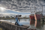 A Local Fisherman Checks His Net for Bait Fish in Historic Gardner's Basin in Atlantic City Photographic Print by Jeff Mauritzen